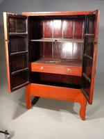 Original Late 19th Red Lacquer Chinese Wedding Cabinet (3 of 4)