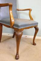 Set of Six Antique Queen Anne Style Walnut Dining Chairs (6 of 15)