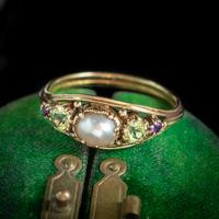 Antique Suffragette Ring Pearl Amethyst Peridot 18ct Gold Locket Back c.1910 (6 of 7)
