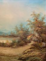 Large Fabulous 20th Century Vintage British Autumn Country Landscape Oil Painting (4 of 12)