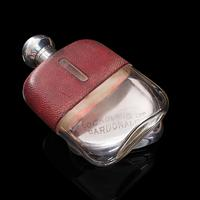 Antique Hip Flask, English, Leather, Glass, Silver Plate, Celebration Gift, 1920 (11 of 12)