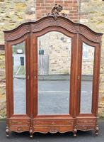 Large Carved Oak French Armoire / Wardrobe