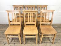Set of Six Vintage Beech Chapel Chairs