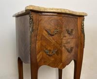 French Marquetry Bedside Tables Cabinets With Marble Tops Louis XVI Bombe Style (7 of 10)