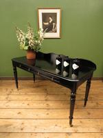 Antique Black Ebonized Console Table with Drawers & Moustache Back (21 of 22)