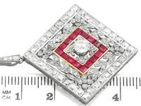 3.48ct Diamond & 0.53ct Ruby, Platinum Pendant / Brooch - Antique c.1900 (10 of 15)
