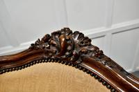 French Carved Walnut & Salon Chair, Upholstered in Silk (8 of 10)