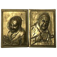 Pair Architectural Scottish Victorian Gilt Bronze Pipe Smoker Gentleman & Lady Wall Plaques