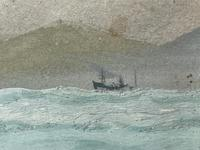 """Edwardian Watercolour """"Champion Of The Seas"""" Ship Black Ball Line Off Cape of Good Hope Signed Pierhead Artist Williams (11 of 39)"""