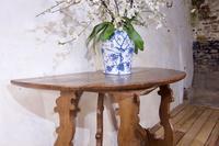 Charming 18th Century Italian Demi-Lune Lyre-Leg Fruitwood Table (10 of 13)