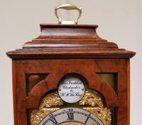 Miniature Walnut Bracket Clock by Clockmaker ro the King (6 of 11)