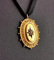 Victorian 9ct Gold Blue Enamel Pendant, Seed Pearl Star (4 of 10)