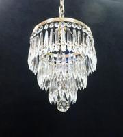 Italian Art Deco Three Tier Crystal Glass Chandelier with Sphere (7 of 7)