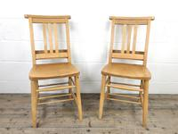 Pair of Vintage Beech Chapel Chairs (3 of 12)