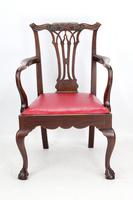 Antique Edwardian Mahogany & Leather Desk Chair (11 of 13)