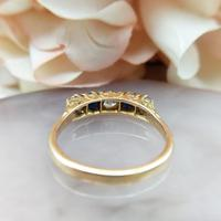 Antique 18ct Yellow Gold Diamond & Sapphire Five Stone Ring, Victorian (7 of 10)