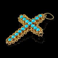 Antique Victorian Turquoise Cannetille Cross Pendant Brooch 18ct Gold c.1860 (2 of 5)