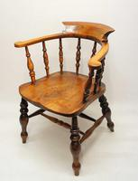 Victorian Smokers Bow or Captains Chair, Elm / Beech - Large Seat, Wide Arms (12 of 13)