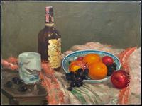 Exceptional Original Vintage Still Life of Fruit & Wine French Oil Painting (2 of 12)