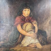 Antique Victorian Oil Painting Portrait of Girl in Red Shawl (5 of 10)