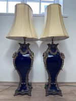 Pair of French Large Rams Heavy Bronze Blue Ceramic Table Lamps (25 of 46)