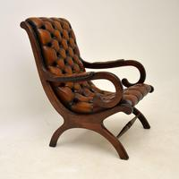 Regency Style Leather Armchair & Stool (4 of 14)