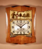 French Oak Signed Odo Automaton Striking Wall Clock (5 of 6)