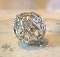Vintage Pocket Watch Chain Fob 1970s Large Fancy Chrome Ball Fob (2 of 6)