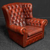 Burgundy Leather Chesterfield Wing-back Armchair (3 of 10)