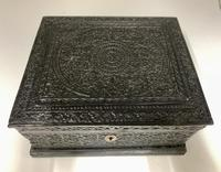 Antique Anglo Indian Hand Carved Wooden Box c.1895 (5 of 7)