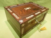 Inlaid Rosewood Table Box / Jewellery Box c.1840 (3 of 12)