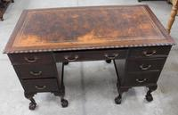 1940s Mahogany Desk with Brown Leather Inset.1 Piece