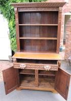 1900's Large Carved Oak Bookcase with Good Carving (3 of 6)