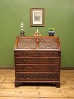 Antique Carved Oak Writing Bureau Desk with Fall Front, Handsome Gothic Piece (16 of 24)