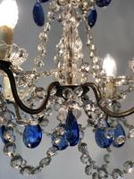 Vintage French Chandelier 4 Arm Crystal Ceiling Light with Sapphire Blue Glass (12 of 13)