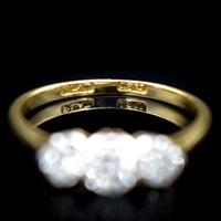 Vintage Diamond Three Stone Trilogy 18ct Gold and Platinum Ring (2 of 11)