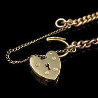 "Vintage Heart Padlock Fancy Curb 9ct 9K Gold Bracelet 6"" (8 of 11)"