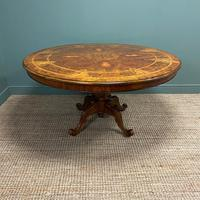 Large Figured Walnut Circular Antique Dining Table (6 of 8)