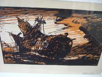 "After Frank Brangwyn RA: Woodcut ""The Wreck"" by H G Webb ca 1912 (2 of 4)"