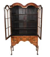 Antique Walnut Cabinet Bookcase Queen Anne Domed (7 of 11)