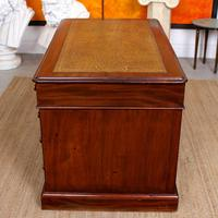 Mahogany Leather Desk 19th Century Victorian Kneehole Twin Pedestal (11 of 14)