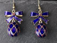 Vintage Russian enamel egg earrings, silver gilt