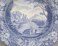 Brameld - Yorkshire Blue & White Pottery Transferware Soup Plate c.1825 (4 of 6)