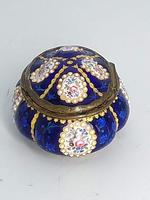 Blue Enamel Bonboniere with Flowers & Gilt Designs Pill Box (4 of 8)
