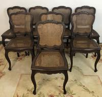 Antique French Set Of 8 Bergère Cane Dining Chairs (3 of 12)