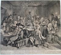 Original Second State Hogarth Print, A Rake's Progress Plate 6, 1735 (2 of 9)
