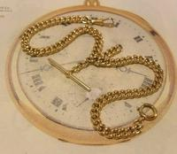 Antique Pocket Watch Chain 1890 Victorian 12ct Rose Gold Filled Albert With T Bar