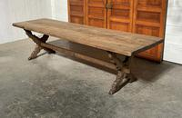 Huge Rustic French Oak X Trestle  Farmhouse Table
