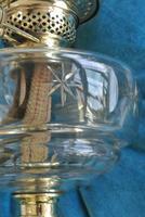 Original Art Nouveau Cut Glass & Brass Oil Lamp - Working Order c.1910 (8 of 9)