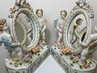 Pair of Small Dresden Victorian Style Porcelain Cherub Table Mirrors (22 of 60)